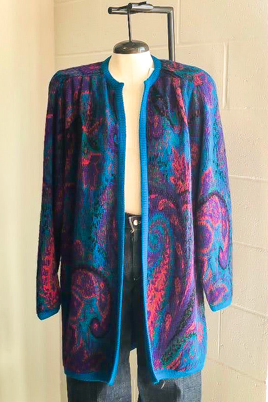 1980s Multicolor Paisley Sweater Coat / S-L