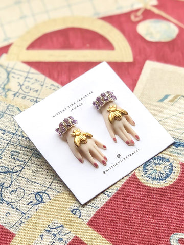 "Vintage ""Hands On"" Lilac Bee Earrings"