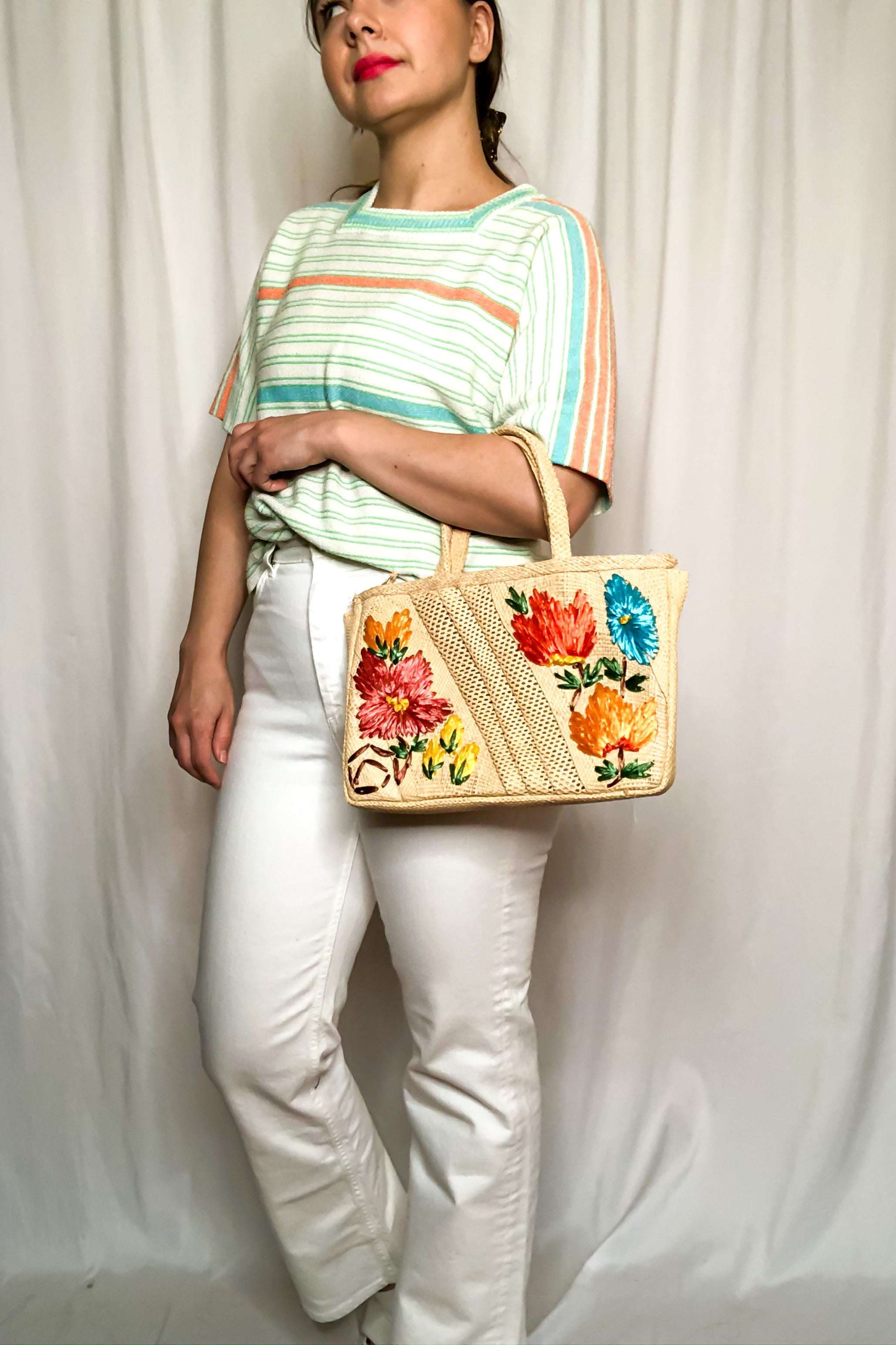 Vintage 70s Embroidered Straw Bag
