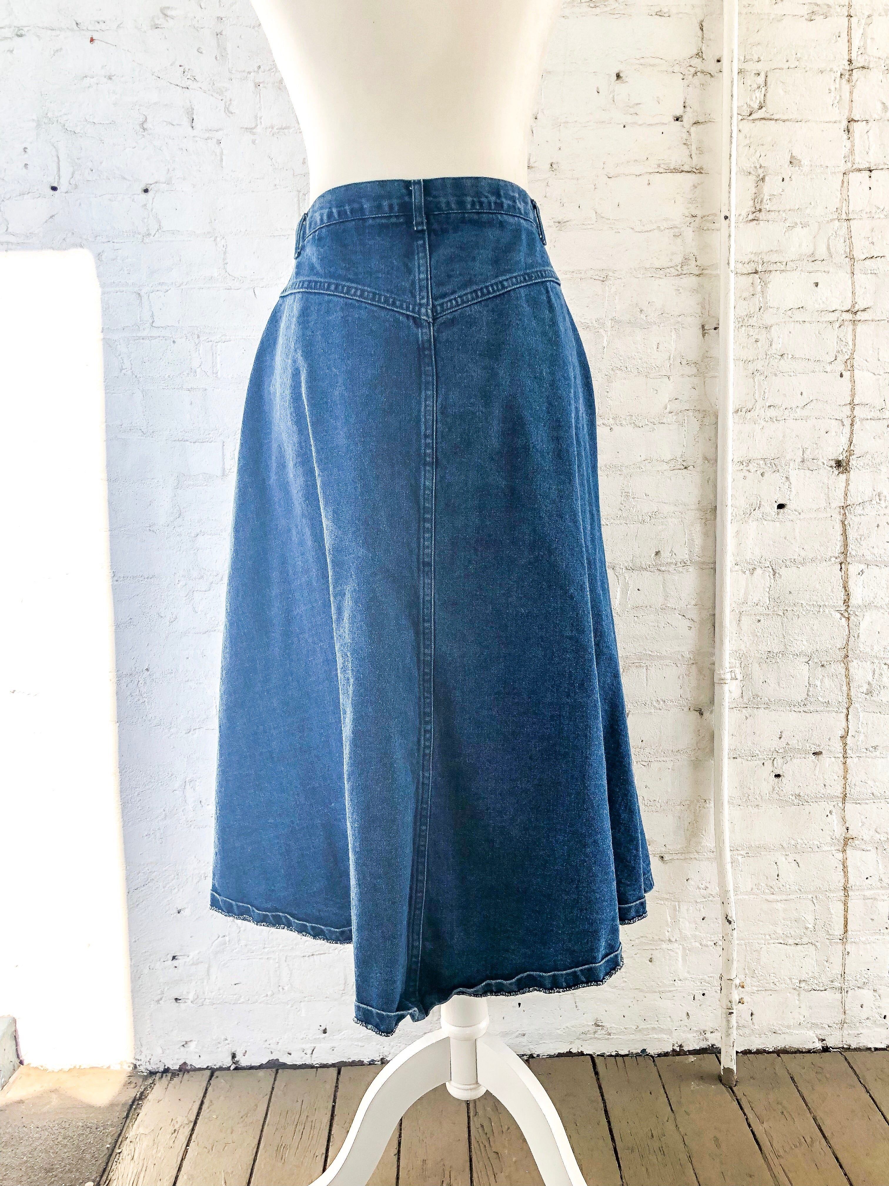 Vintage 80s Denim Midi Skirt / S-M