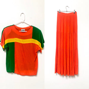 70s Orange Maxi Skirt Set / S