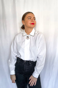 Vintage White Button Down Shirt / S-M