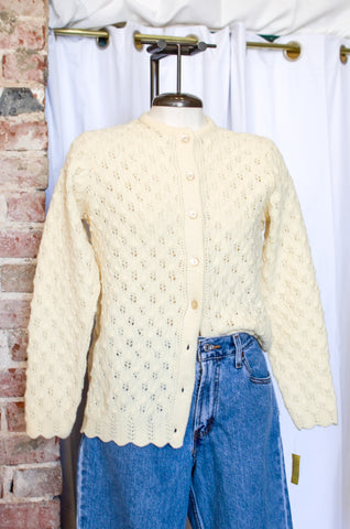1970s Ivory Crochet Sweater Cardigan / Small - Medium