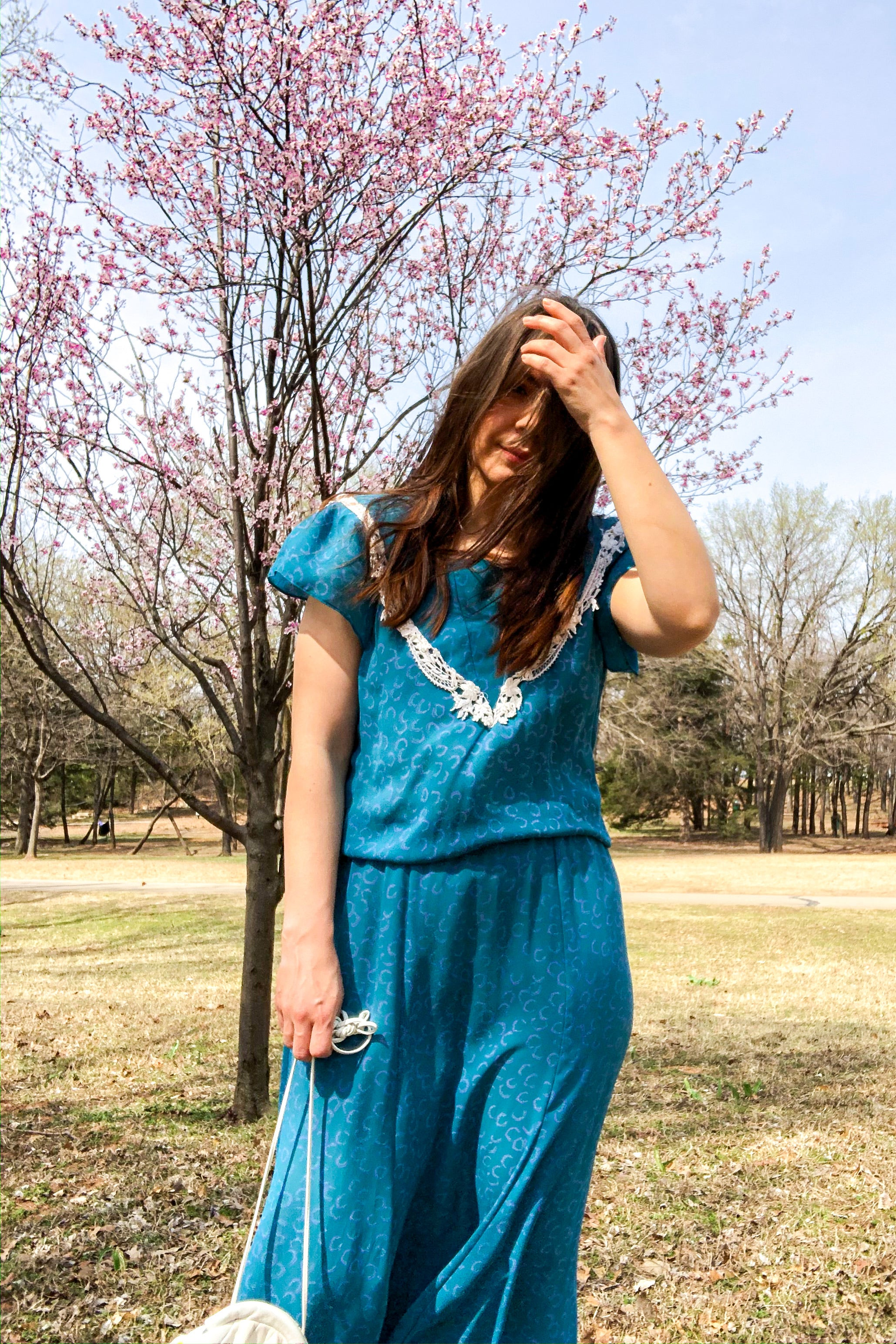 Vintage 80s Teal Printed Dress / S-M