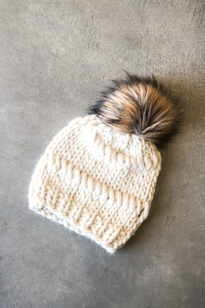 Open image in slideshow, The Lillian Fur Pom Pom Beanie in Ivory