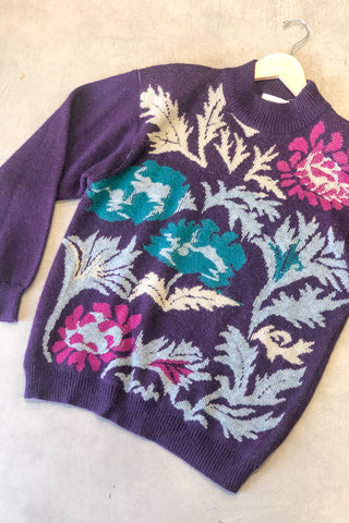 1980s Purple Floral Cozy Sweater / M-L