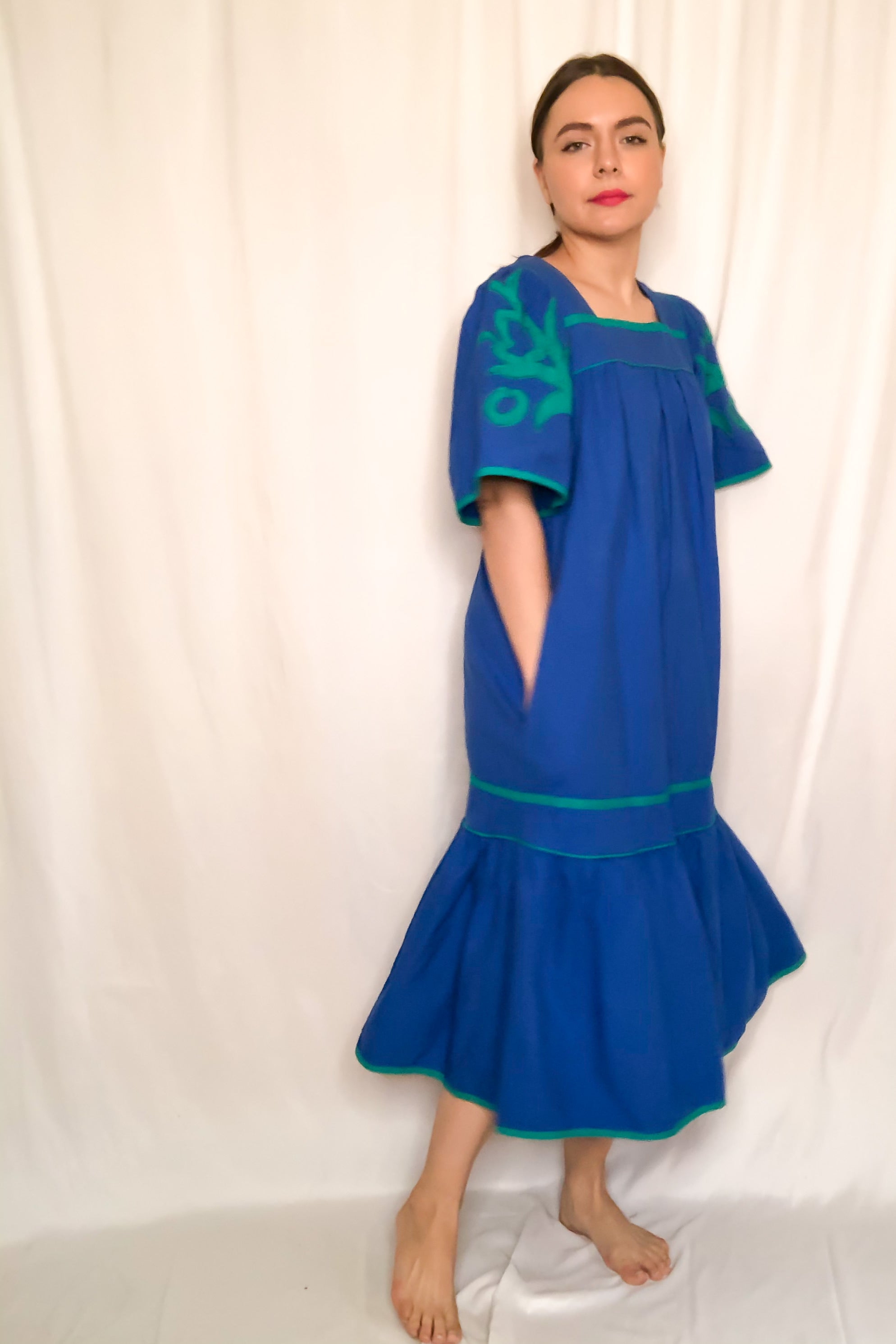 Vintage Cobalt Blue & Green Embroidered House Dress / S-L