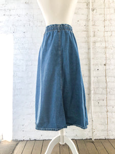 Vintage 80s Denim Midi Skirt / M