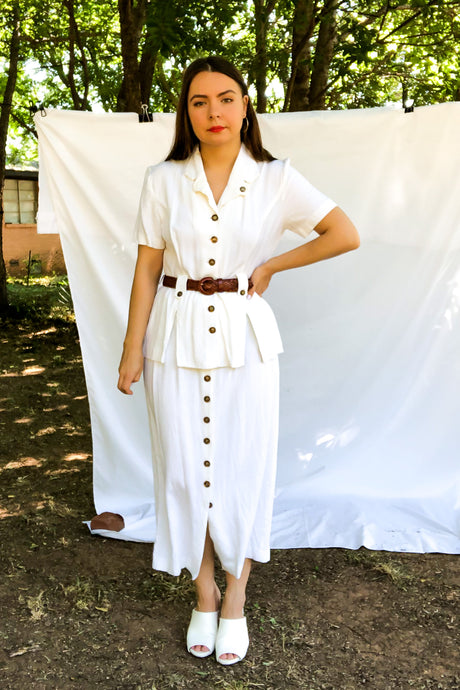 Vintage 80s White Button Front Shirt Dress / S-M