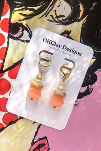 Peach & Pearl Bead Earrings