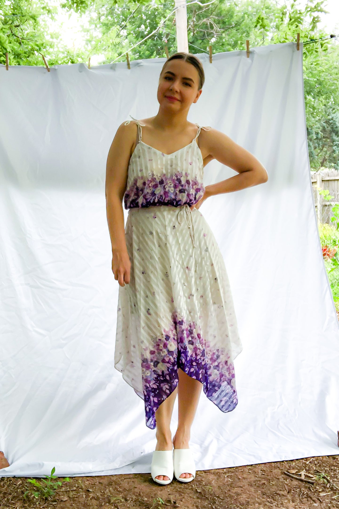 Vintage Purple Floral Handkerchief Dress / S
