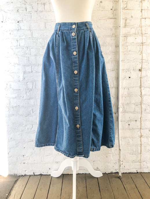 80s Denim Midi Skirt / M
