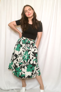 Vintage 70s-80s Green Floral Skirt/ S-M