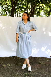 Vintage 80s Blue Striped Shirtdress / S-M