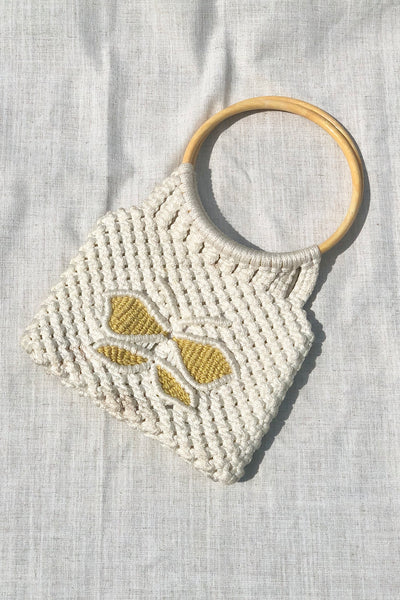 Vintage 70s Ivory and Yellow Macrame Butterfly Bag