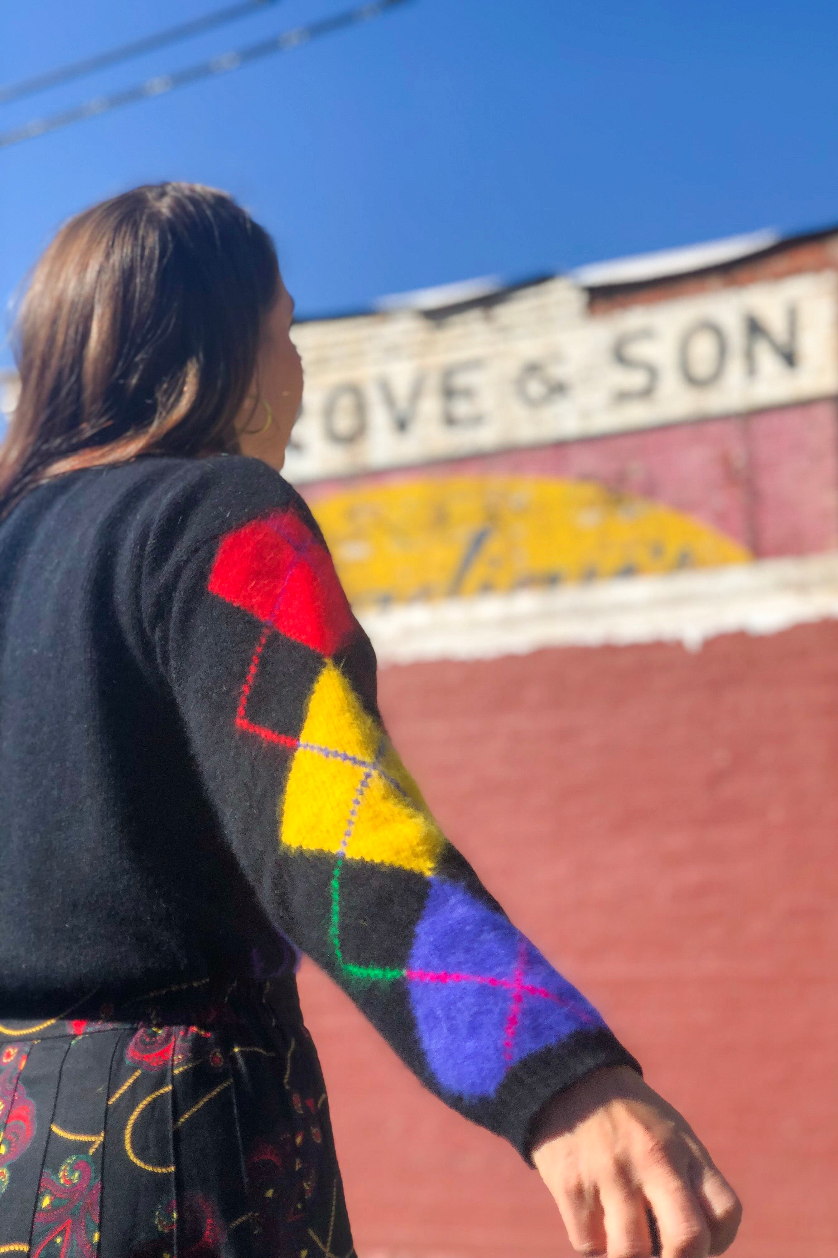 Vintage Rainbow Argyle Sweater / S-M