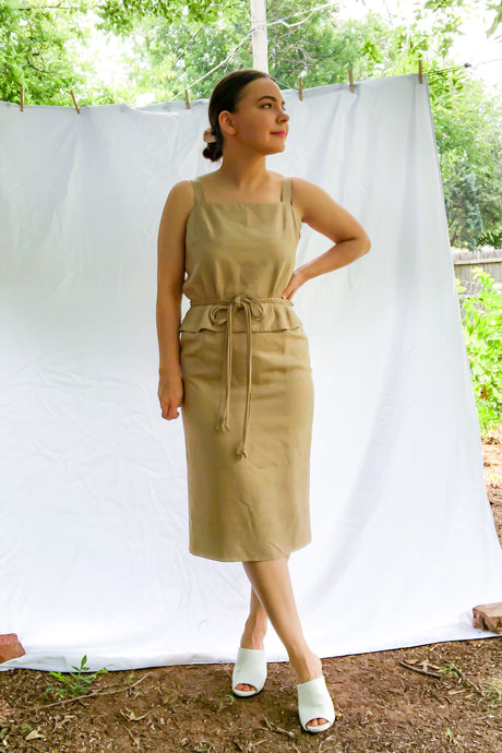Vintage 70s Light Brown Linen Wiggle Dress / S