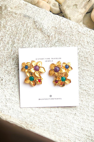 Vintage Gold & Rhinestone Flower Earrings