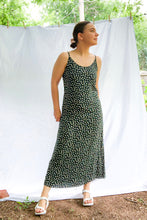Load image into Gallery viewer, Vintage 80s Dark Green Floral Dress / XS-S