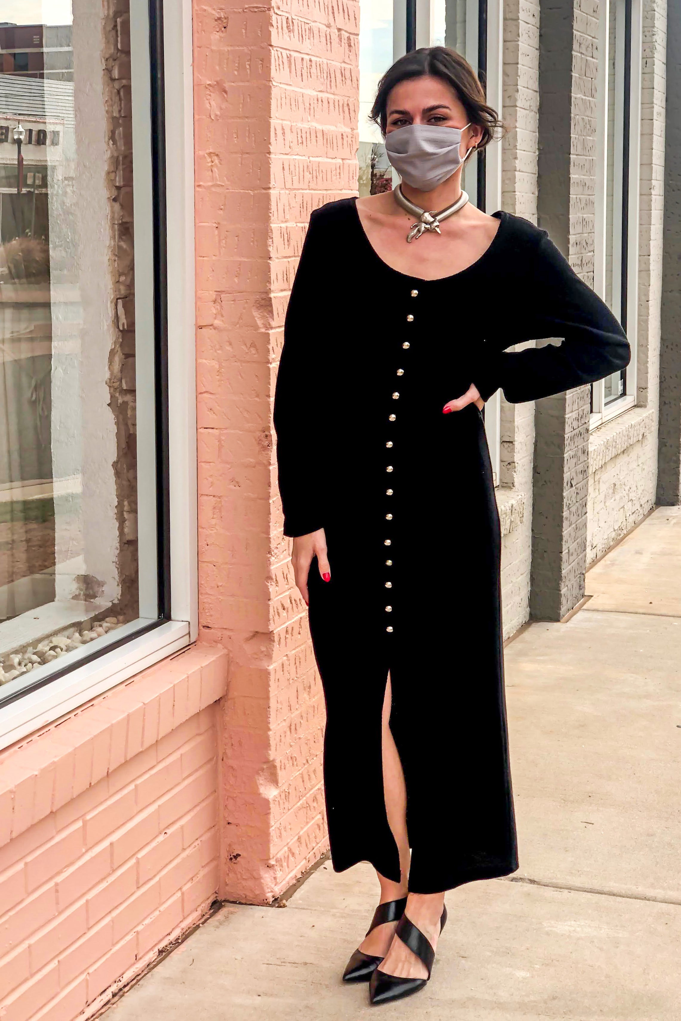 1990s Black Knit Bodycon Long Dress / Small - Medium