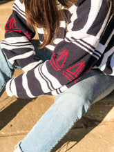Load image into Gallery viewer, 90s Navy Striped Sweater / S-XL