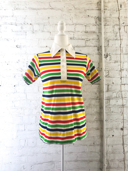 70s Rainbow Stripe Polo Top / S-M