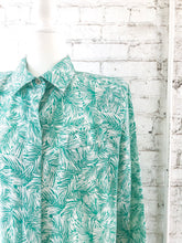 Load image into Gallery viewer, Vintage 80s Green Leaf Print Shirt Dress / S-L