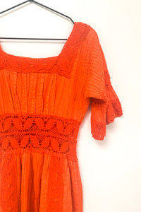 Vintage 70s Orange Mexican Crochet Boho Dress / S