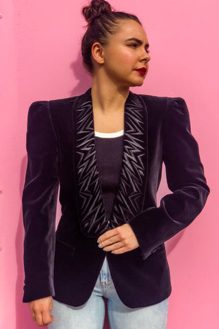 80s Black Velvet Blazer & Skirt Set / S