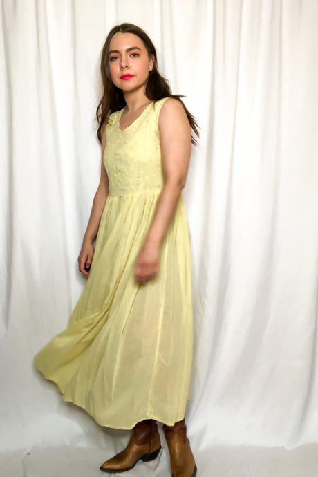 Vintage 80s Yellow Empire Waist Dress / S-M