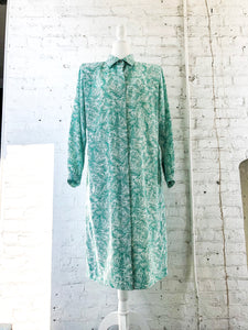 Vintage 80s Green Leaf Print Shirt Dress / S-L
