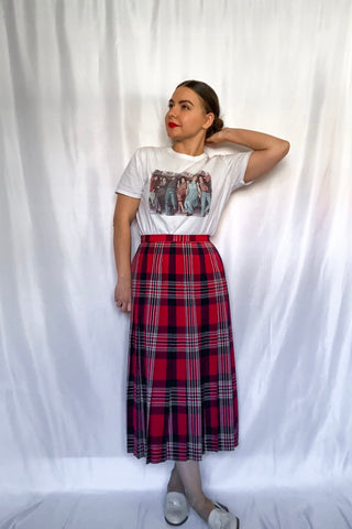 70s-80s Red and Navy Plaid Skirt / S-M