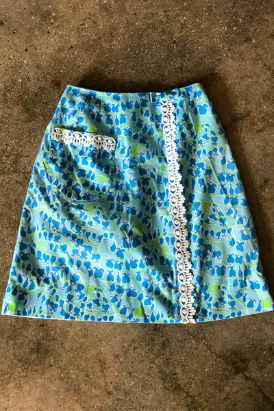 Vintage Blue Drop & Green Heart Print Lilly Pulitzer Skirt / X-Small-Small