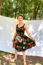 Load image into Gallery viewer, Vintage 80s-90s Black Hawaiian Floral Dress / XS-S