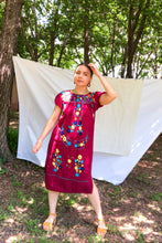 Load image into Gallery viewer, Vintage 70s Burgundy Oaxacan Dress / S-M