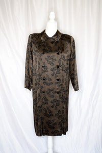 Vintage 70s Brown and Black Shirt Dress / S-M