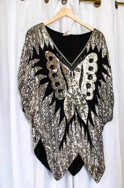 Vintage Sequin Butterfly Top / Large - XLarge