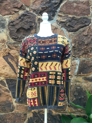 80s Vintage Patchwork Knit Sweater / S-M