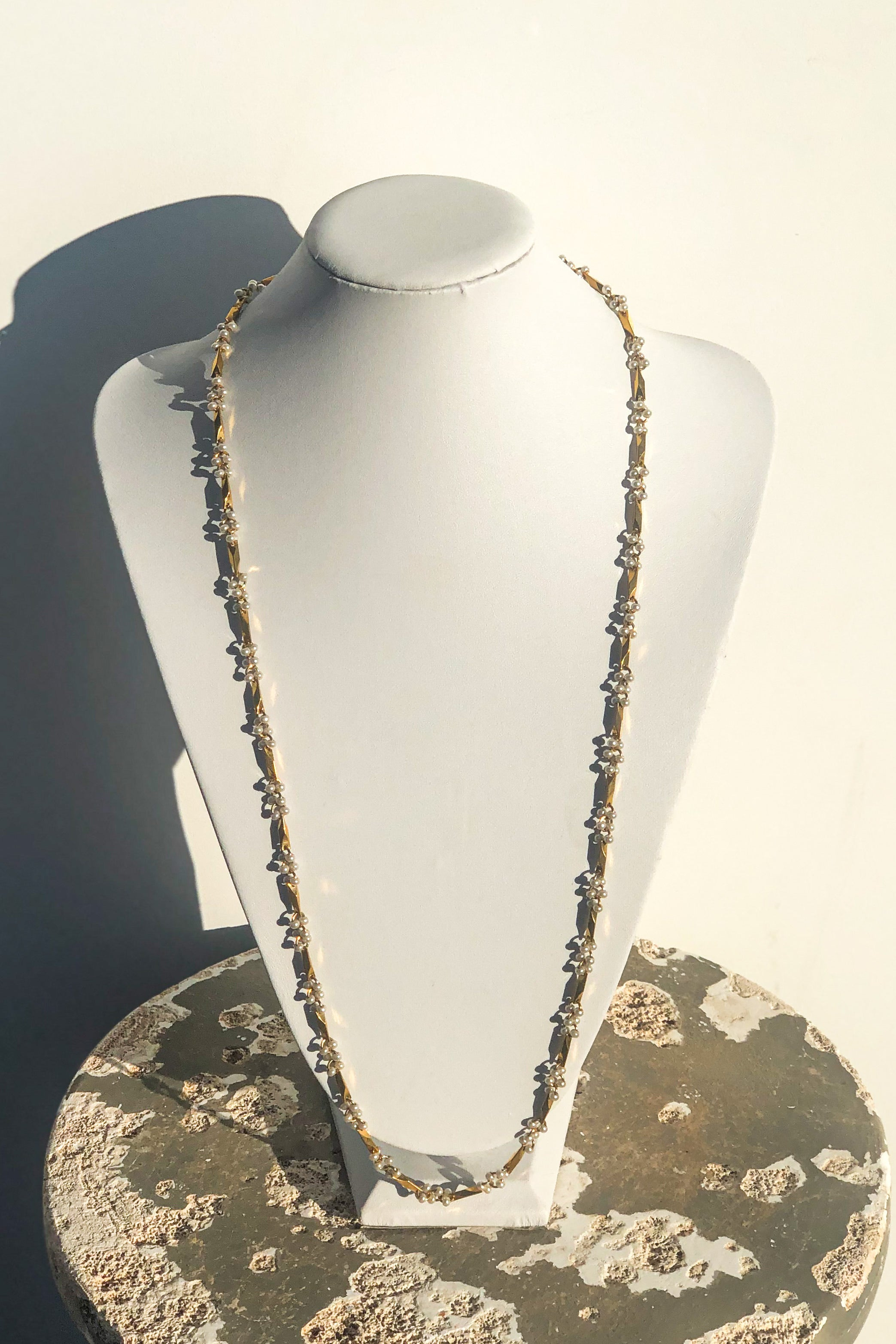 Vintage Gold & Mini Pearl Long Necklace