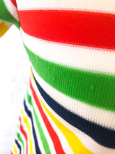 Load image into Gallery viewer, Vintage 70s Rainbow Stripe Polo Top / S-M