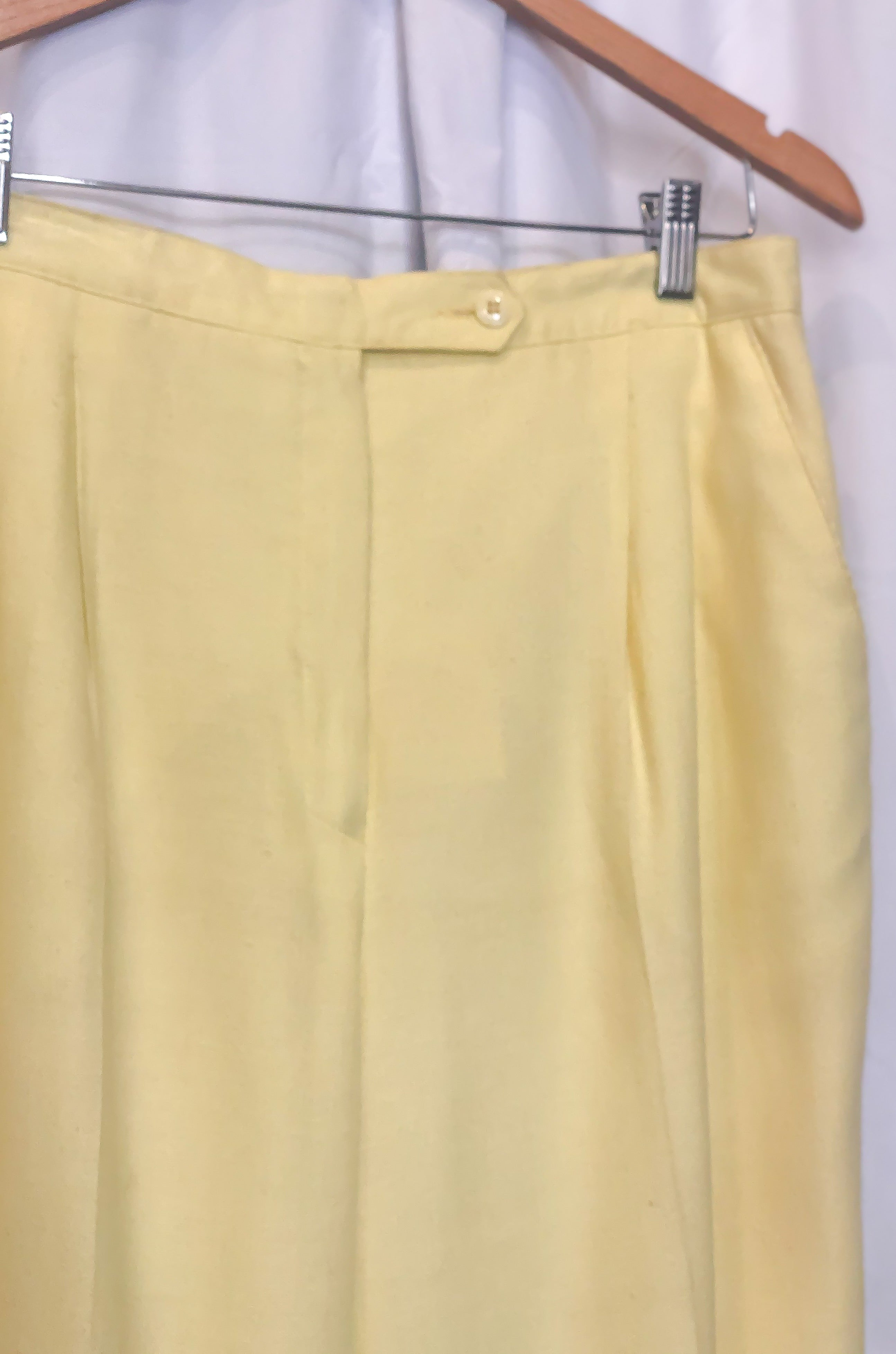 Vintage Yellow Linen Trousers / Waist 30""