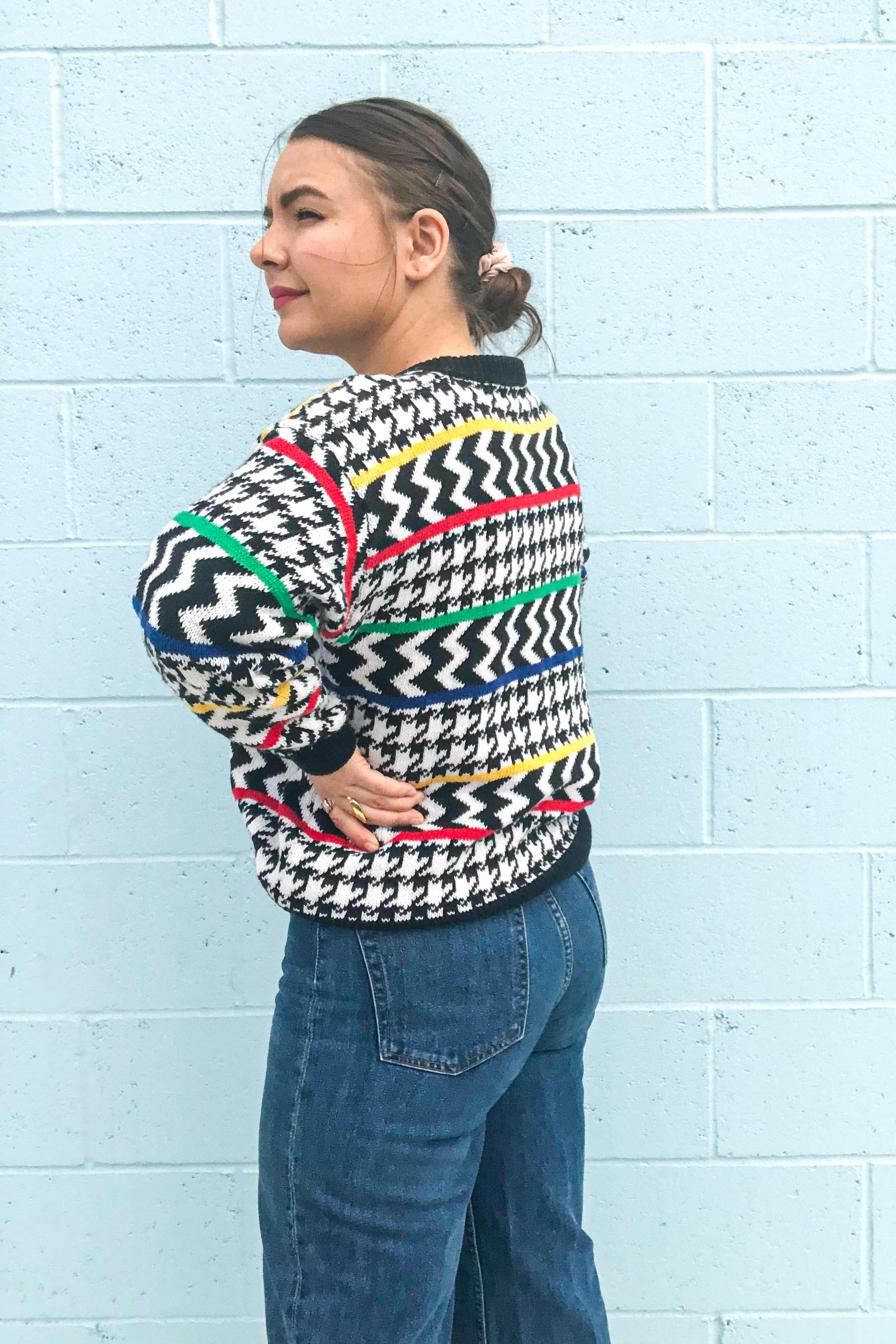 Vintage 80s Black & White Sweater / S-M