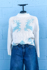 Vintage White & Blue Reindeer Sweater / Small - Medium