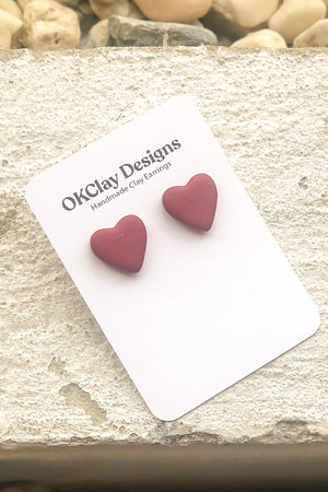 Open image in slideshow, The Heart Studs by OKClay Designs