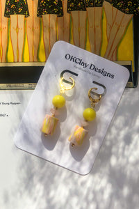 Yellow Marble Bead Earrings