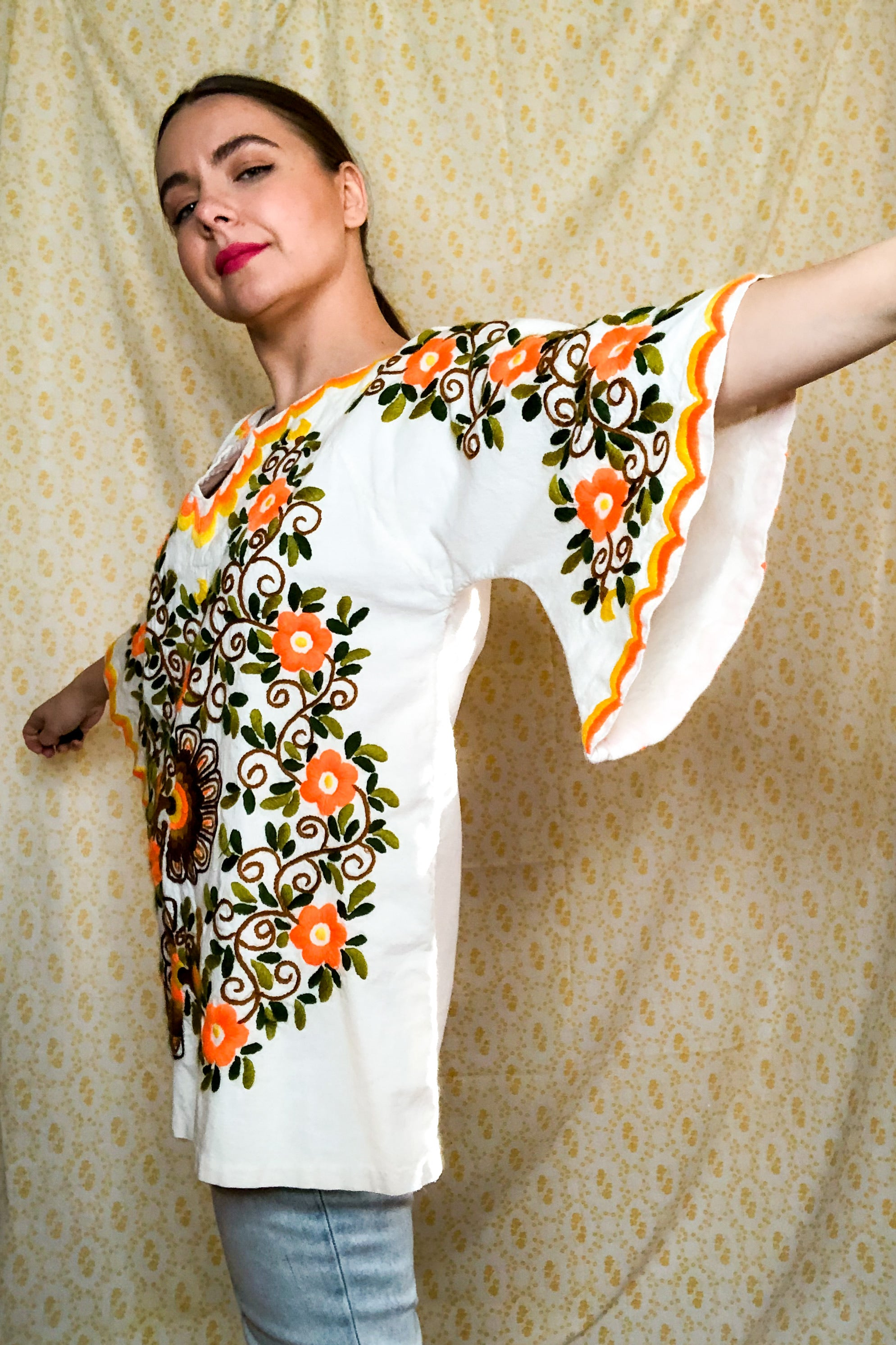 Vintage Mexican White Embroidered Peacock Tunic / S-L