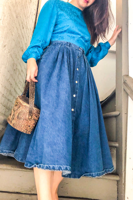 80s Denim Midi Skirt / S-M