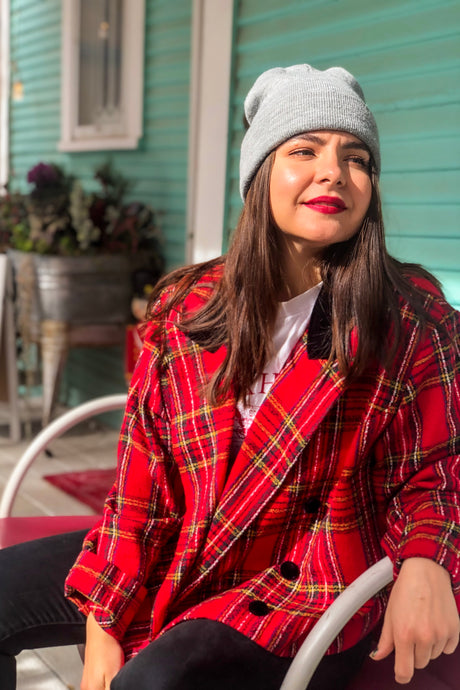 Vintage 90s Red Plaid Blazer / S-XL