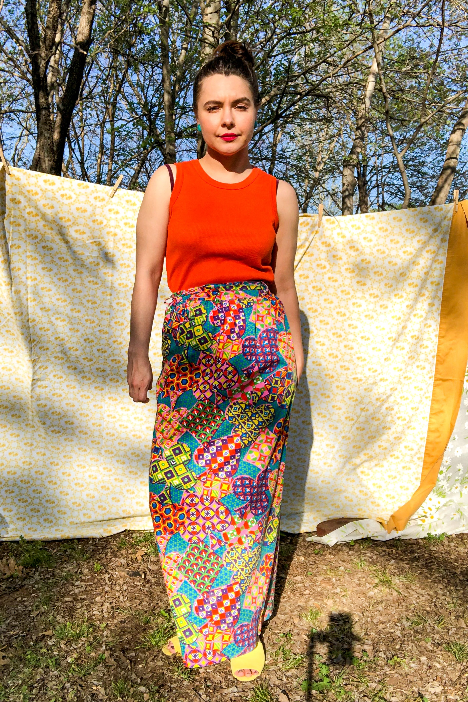 Vintage 60s-70s Multicolor Abstract Print Skirt / XS-S