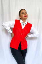 Load image into Gallery viewer, Vintage Red Knit Vest / S-M